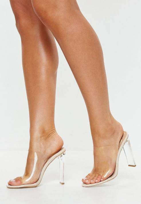 d80bc8b92e Nude Illusion Heels Clear Mules in 2019 | Shoes | Heels, Clear strap ...