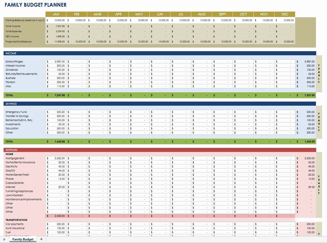 Financial Plan Template Excel In
