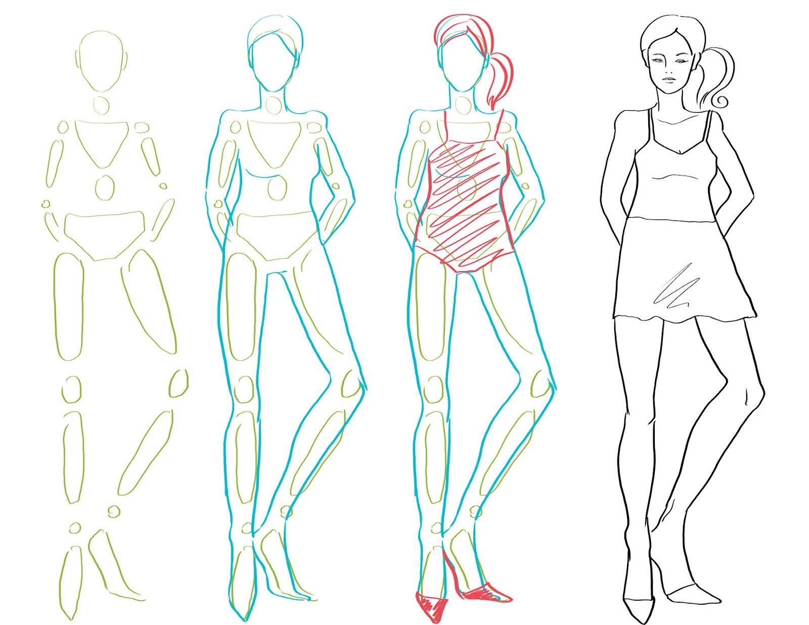 How To Draw Fashion Figures In Simple Steps Look What Simple Shapes Can
