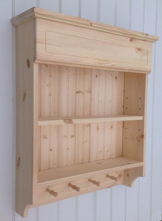 Spice Rack Shelf Unit Kitchen Cabinet Wooden Wall Storage With Mug Pegs In Natural Pine A Woodworking Projects Furniture Diy Kitchen Storage Kitchen Wall Units