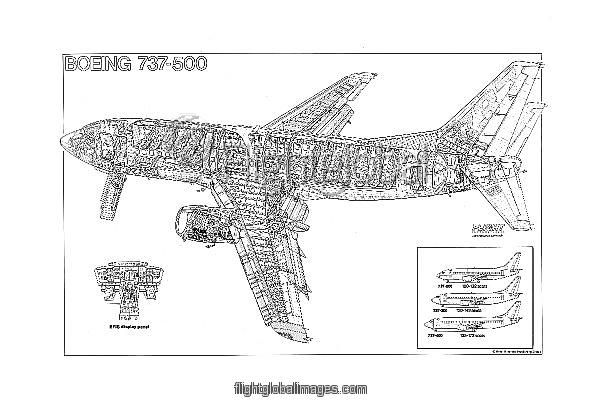 Boeing 737-500 Cutaway Poster as Photographic Prints