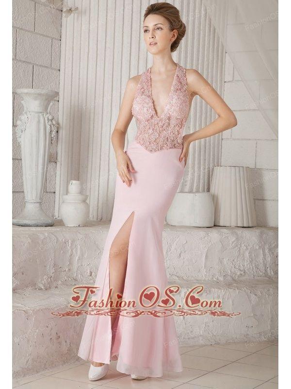 Baby Pink Column V-neck Floor-length Chiffon Appliques Prom ...