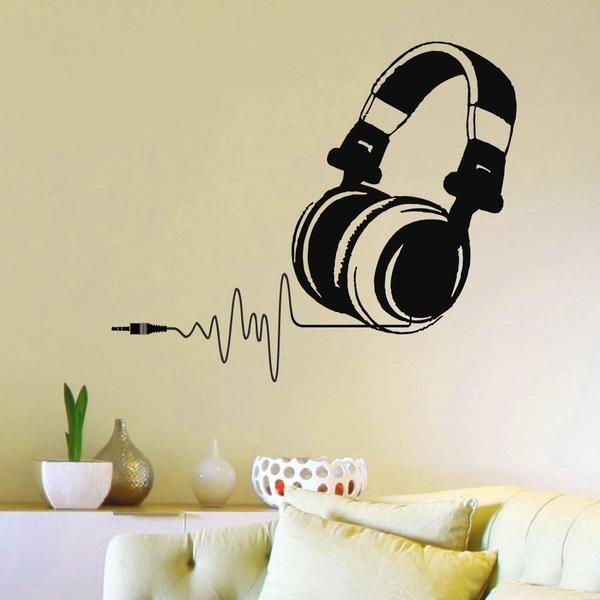 Wall Stickers Headphones Music Studio Cool DJ Boys Art Decals Vinyl Home Room