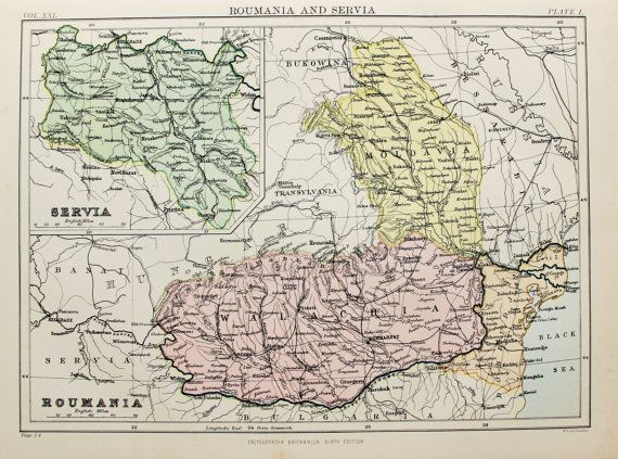 Antique Colour Map of Romania & Serbia. Encyclopedia Britannica ...