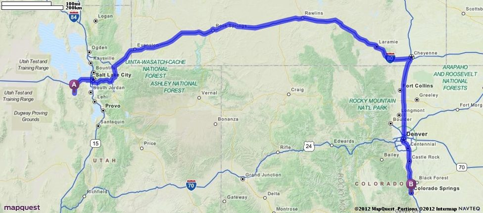 Driving Directions from Tooele, Utah to Colorado Springs, Colorado ...