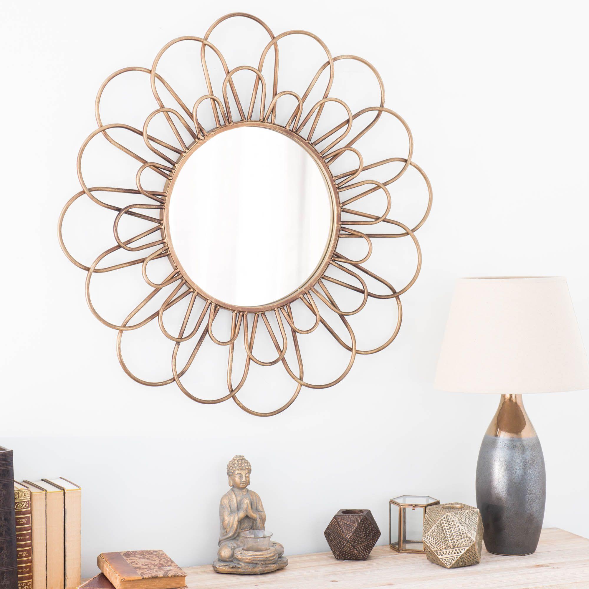 Miroir rond en m tal dor d 75 cm jangala sur nos murs for Miroir rond dore