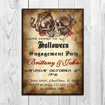 Halloween Engagement Party Invitation Printable Skull Couples Shower