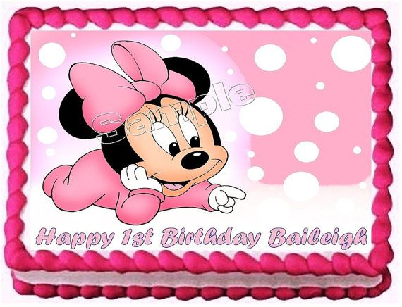 Baby Minnie Mouse Frosting Sheet Cake by WildflowersandRoses