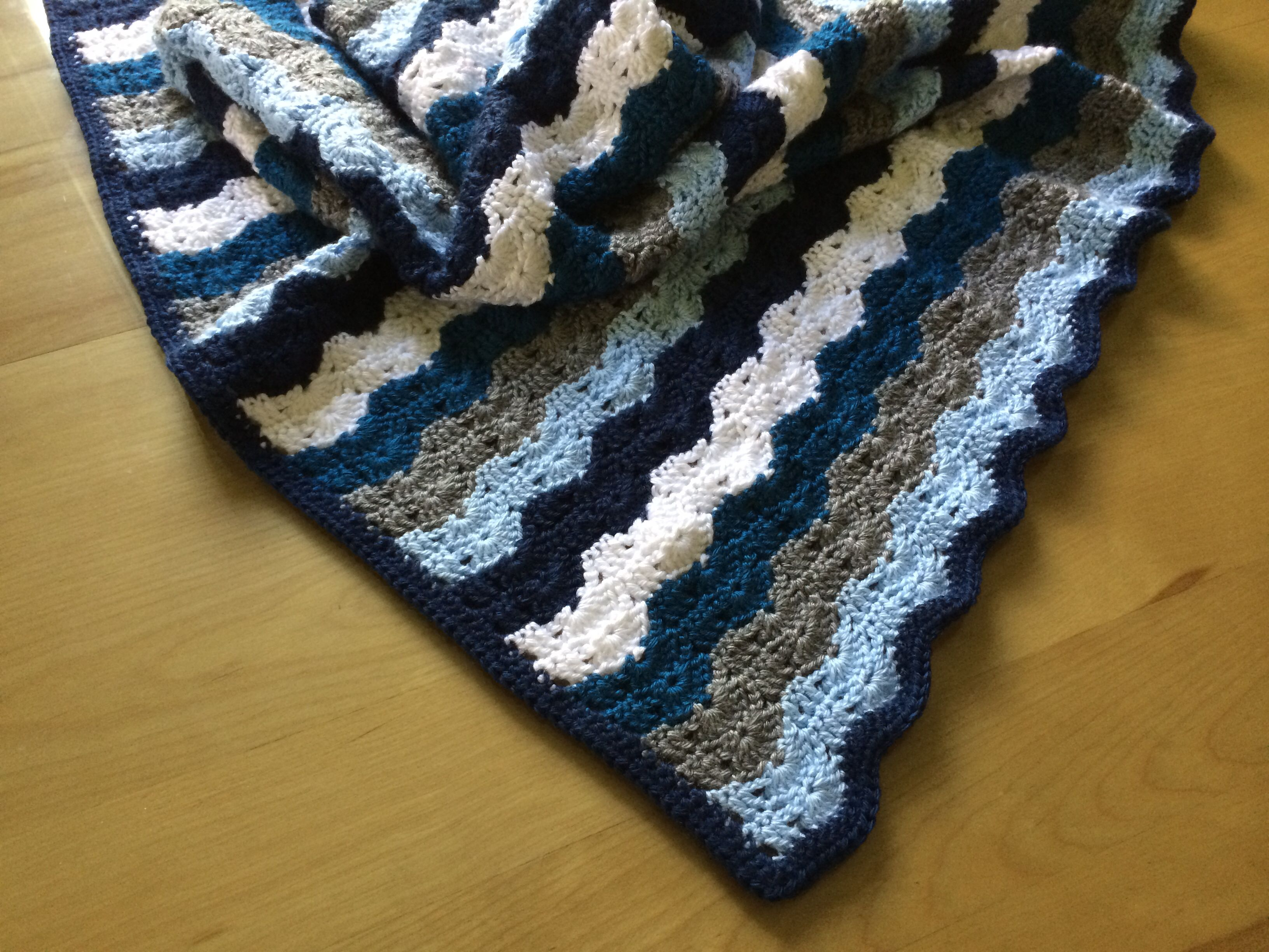 Baby boy crochet blanket in grey, light blue, navy, white, and teal ...
