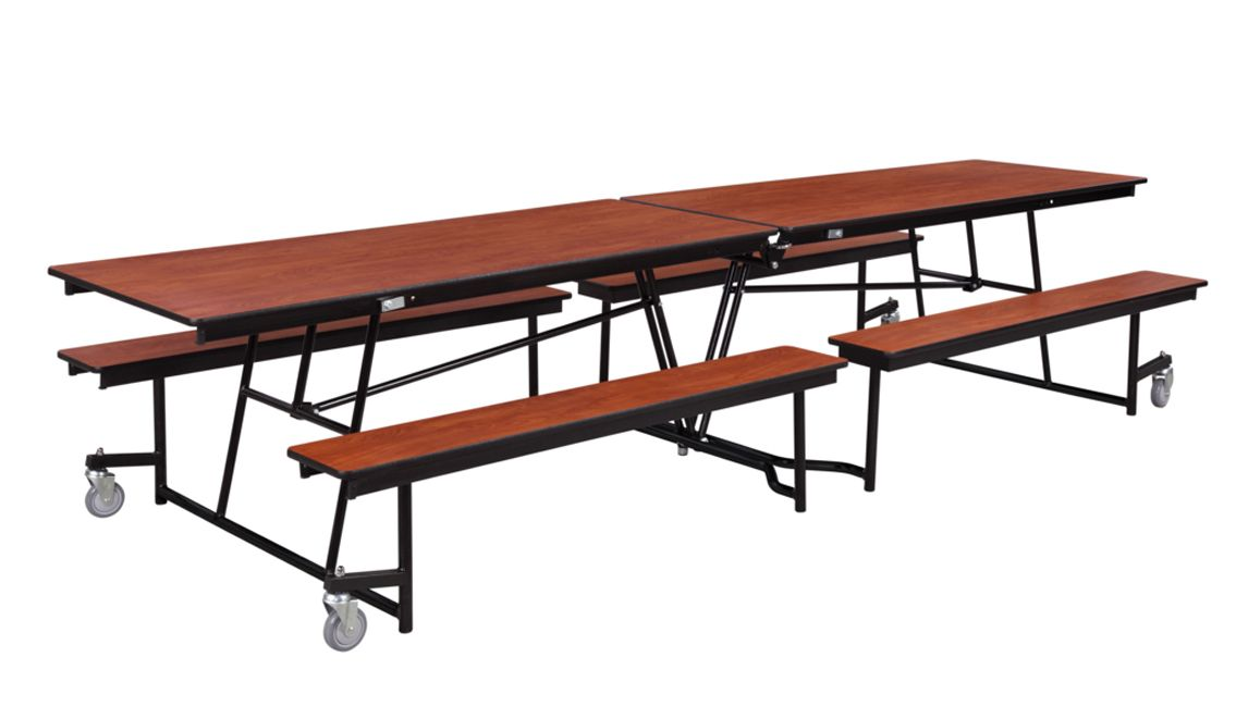Mobile Bench Cafeteria Table Plywood Top W Protectedge 12 L In 2020 Cafeteria Table Public Seating Table
