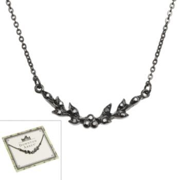 Downton Abbey Jet Simulated Crystal Leaf Collar Necklace