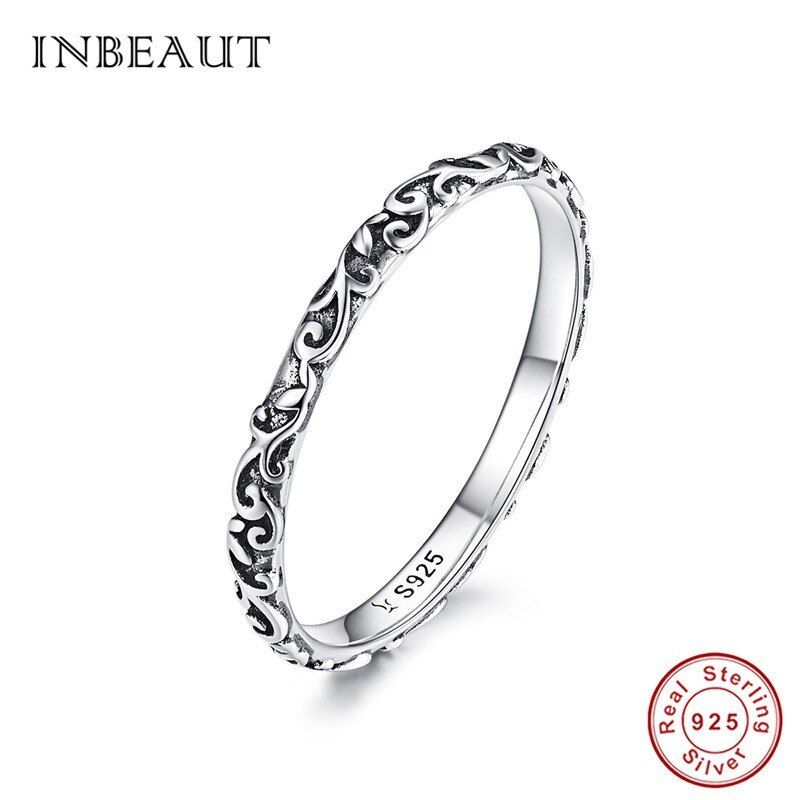Sterling Silver Decorative Band Ring Women's Fashion Jewelry