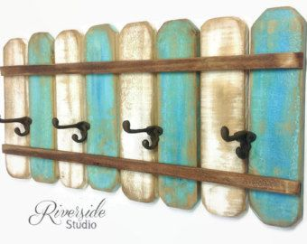 Rustic coat rack wall art handmade reclaimed wood wood - Modelos de percheros de pared ...
