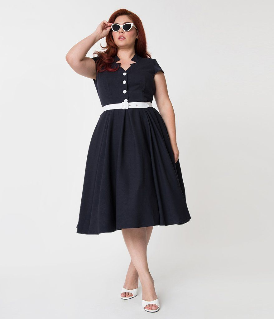 Miss candy floss plus size s style navy blue alessialee swing