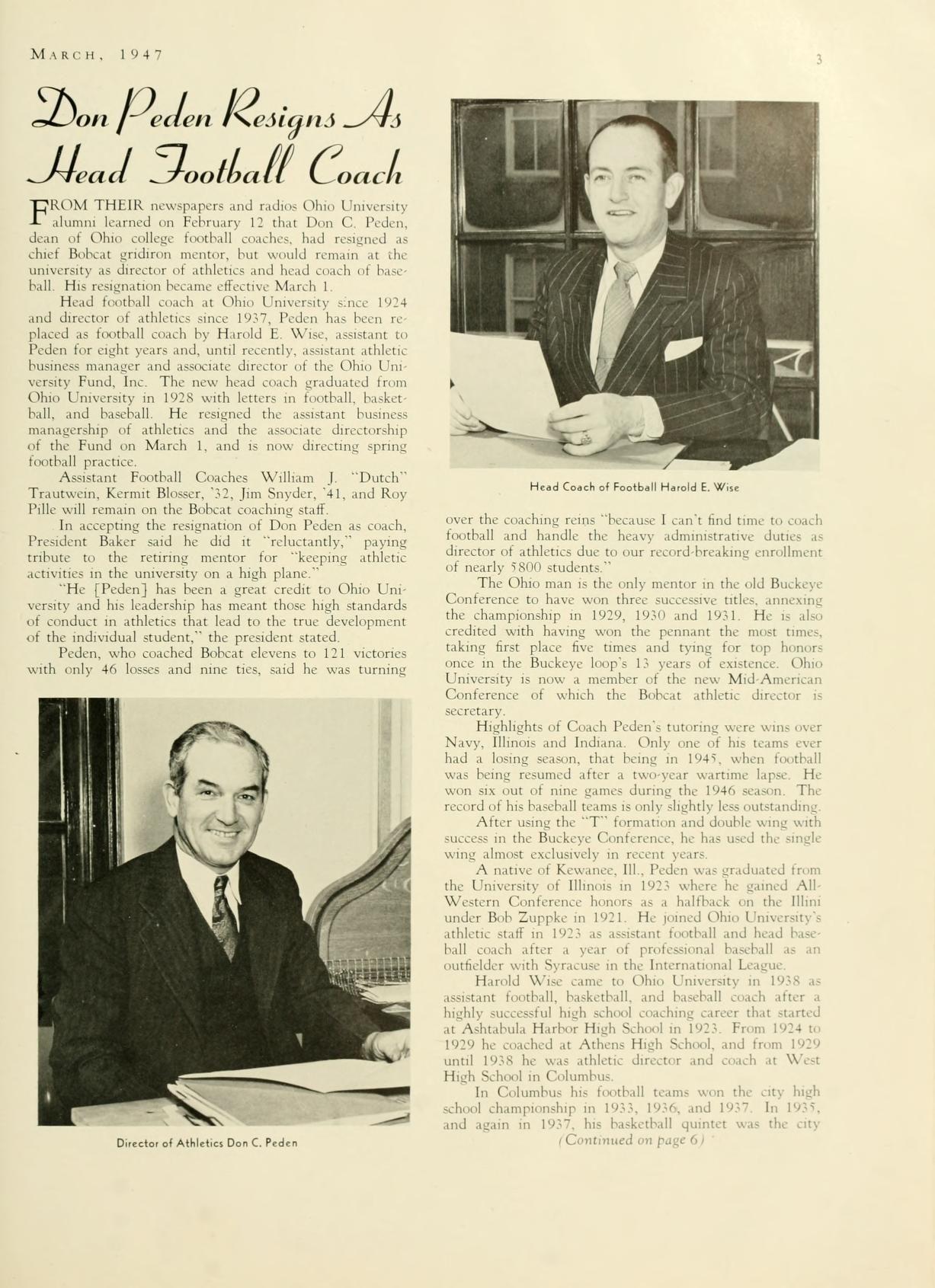 "The Ohio Alumnus, May 1947. ""Don Peden Resigns As Head"