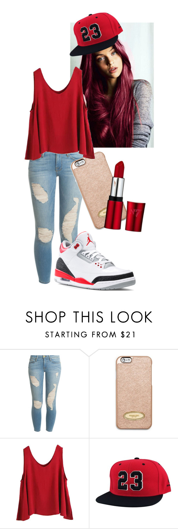"""This chick got the right one"" by knowmequeena ❤ liked on Polyvore featuring Frame Denim, MICHAEL Michael Kors, WithChic, women's clothing, women's fashion, women, female, woman, misses and juniors"