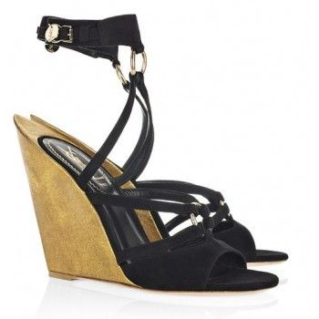 Yves Saint Laurent Totem suede sculpted-wedge sandals