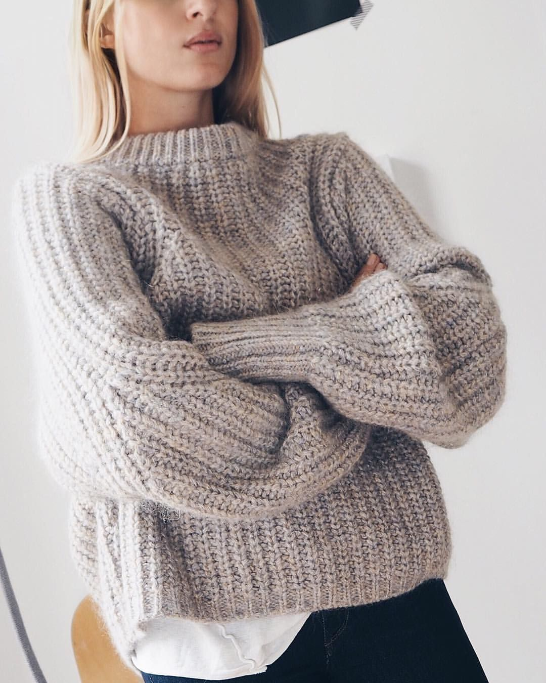 grey & black | chunky light grey ribbed sweater | high neck ...