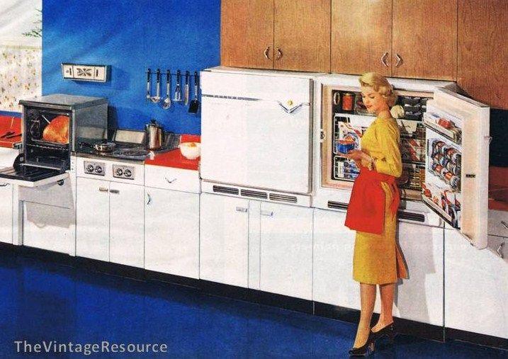 """Amazing Philco """"elevator"""" oven and wall-mount fridge/freezer - 1956"""