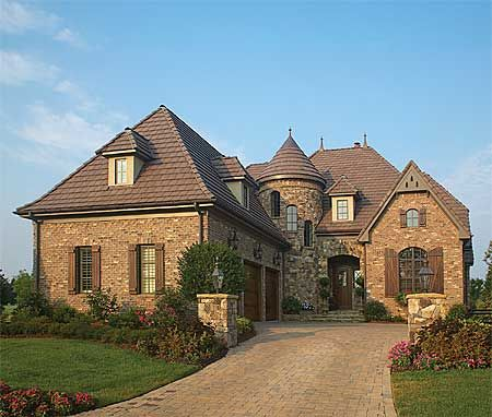 Plan 17509lv turreted stair in two story library formal for 2 story european house plans