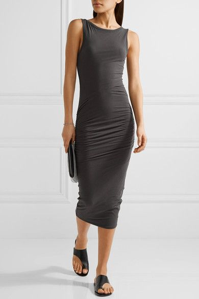 James Perse Woman Cotton Stretch-jersey Midi Dress Charcoal Size 2 James Perse 2i7v1