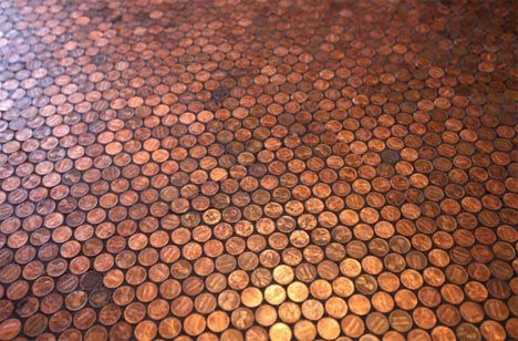 Cheap Luxury Diy Round Floor Tiles From Glazed Pennies Penny Tile Floors Penny Floor