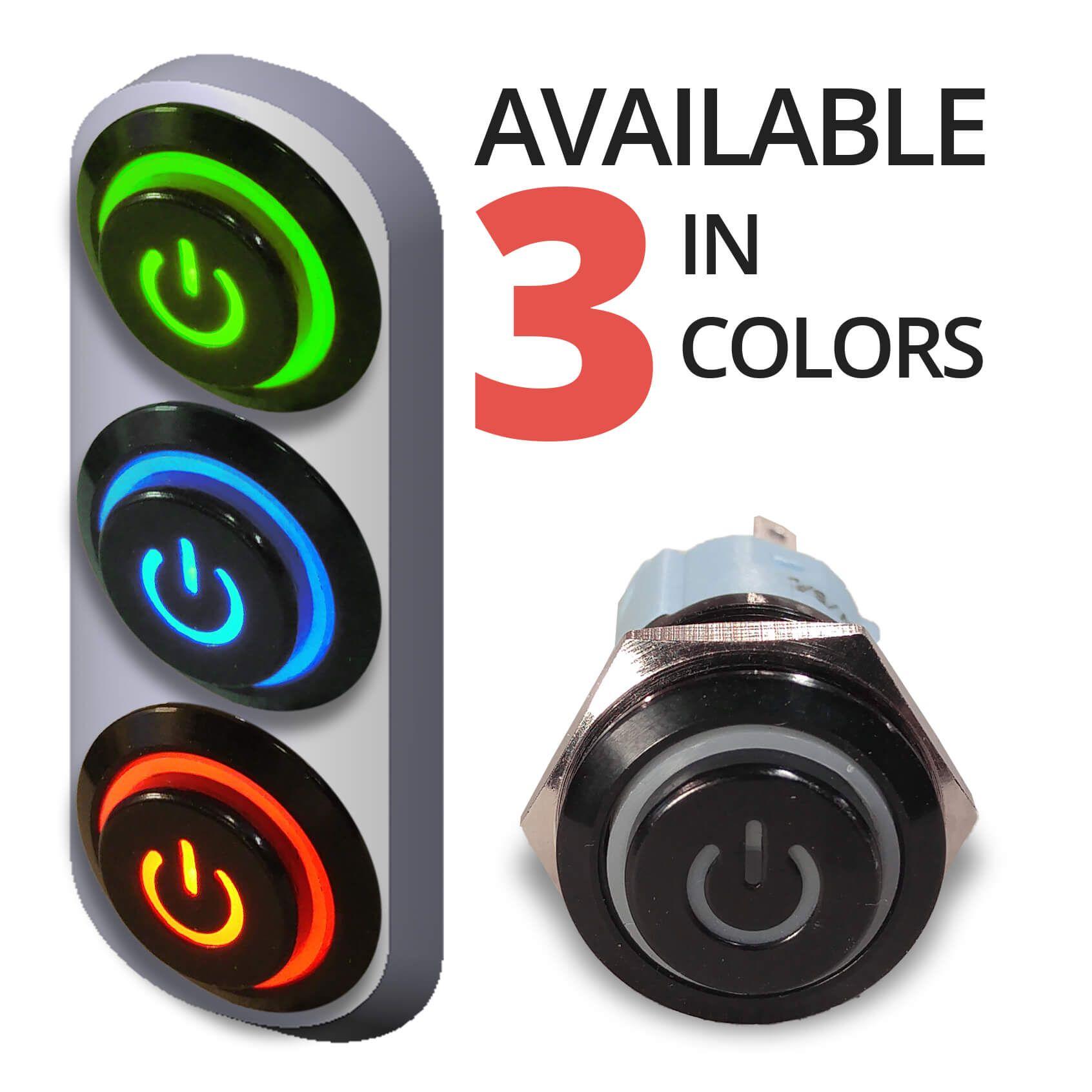 Black Latching 12V Push Button Switch SPDT Power Symbol