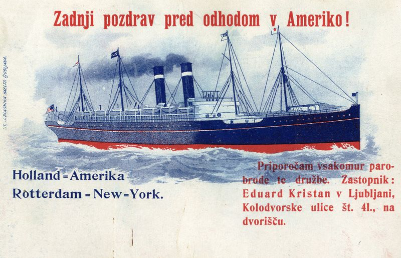 An advertising postcard of E. Kristan with text: »The last greeting before departure for America!«