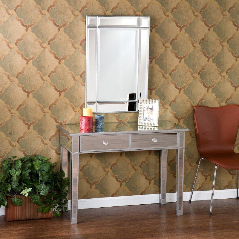 Southern Enterprises Mirage Mirrored 2 Drawer Console Table