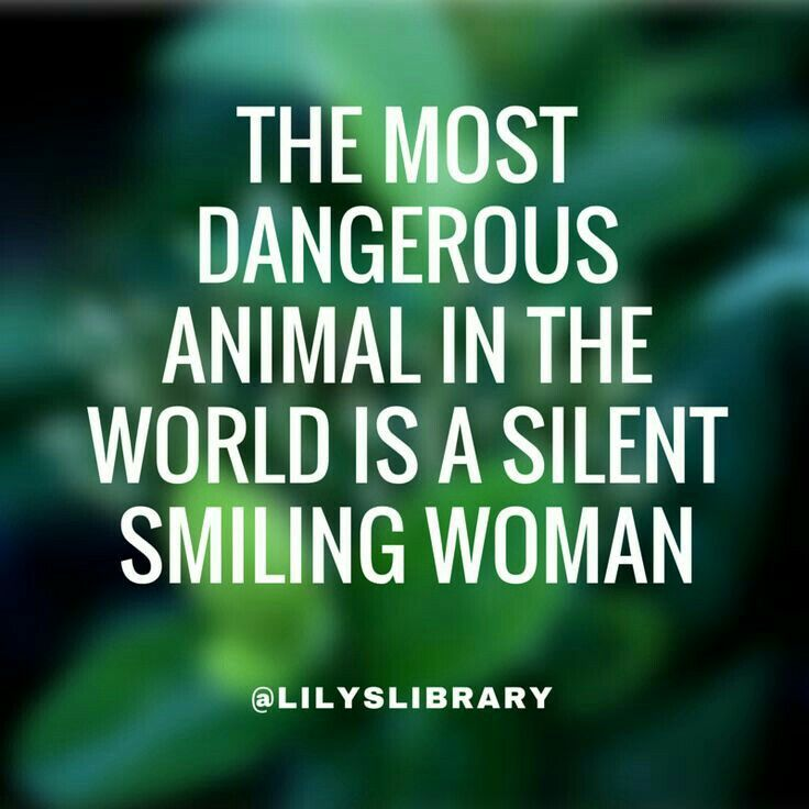 2f9e6bc09 The most dangerous animal in the world is a silent smiling woman. Isn't  that the truth! #quote #women #true