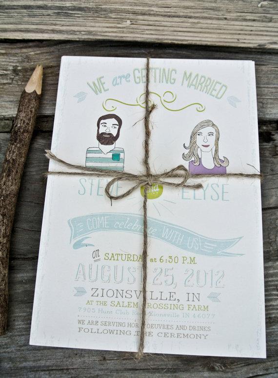 Custom Portrait Hipster Wedding Invitation Ilration Rustic And Bohemian Style On Etsy 2 00