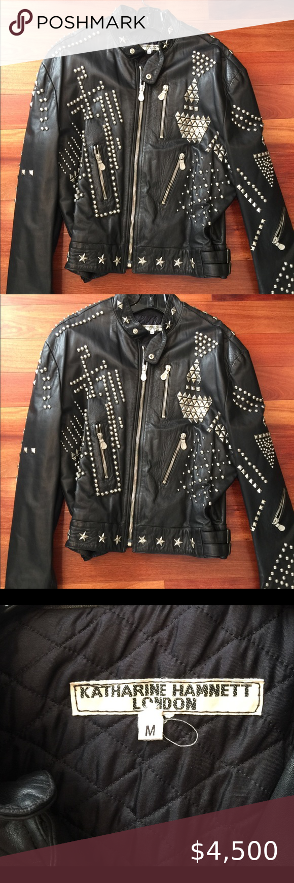Photo of Vintage Katherine Hamnett biker jkt. Size M. Rare Vintage blk leather silver stu…