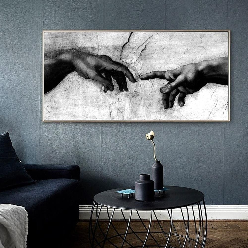 Black White Canvas Art Print Home Decoration Wall Art Canvas Painting Hand Of God Creation Of Adam Oil Painting On Canavs In 2020 White Canvas Art Black And White Wall
