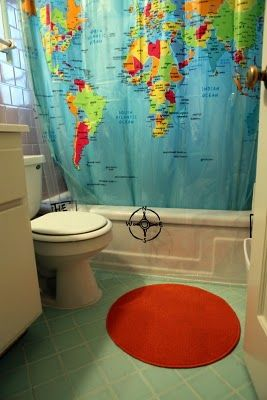 World map shower curtain bathroom ideas pinterest kid world map shower curtain bathroom ideas pinterest kid bathrooms apartments and decorating bathrooms gumiabroncs Images