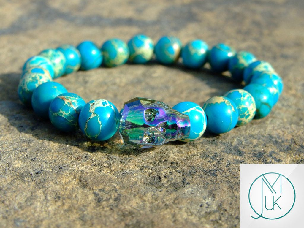 3482008c4038 Swarovski Paradise Shine Crystal Skull Imperial Jasper Bracelet ...