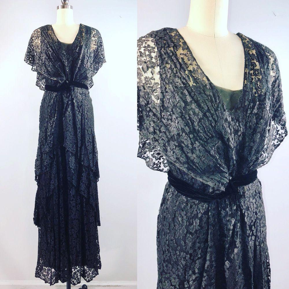 S vintage s prohibition black lace tiered gown dress medium