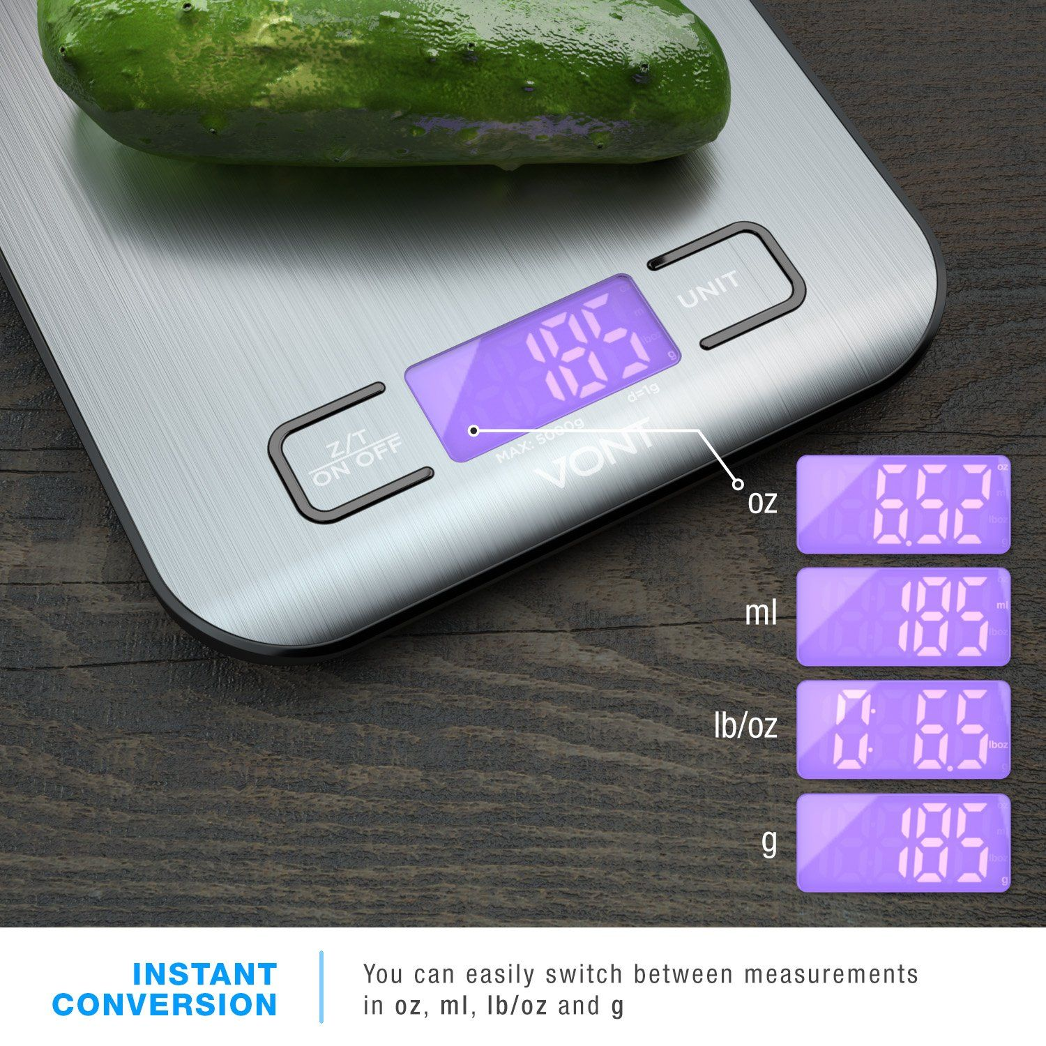 Digital kitchen scale food scale slim compact