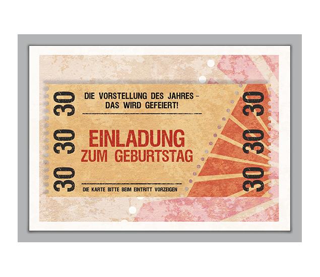 Einladung Zum 30. Geburtstag Im Coolen Ticket Look   Http://www.