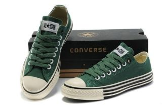 b8dcf7aa0ad302 Latest Style Low Top Converse All Star Green Canvas Black Lines Canvas  Sneakers  512183