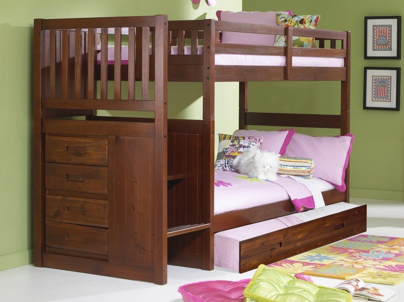 Layla Merlot Bunk Bed with Stairs Bunk beds, Staircase