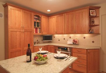"Small #Kosher #Kitchen with #Island: The 12"" deep tall #pantry #cabinets provide #storage while making space for the small island. by Dream Kitchens"