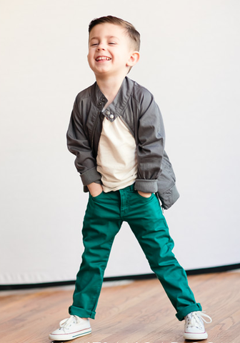 Love this look!  Jade-colored skinnies and the perfect statement jacket for little boys!  Such cool boys clothes!