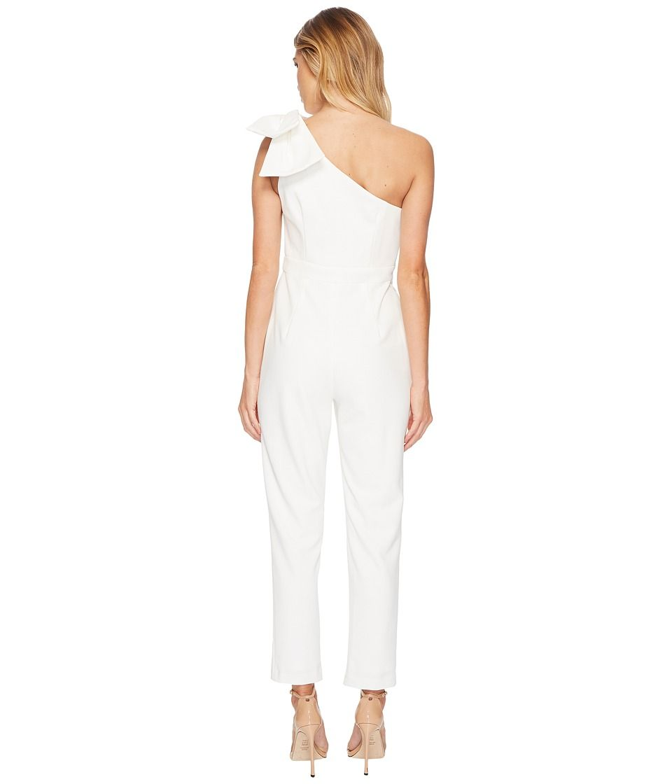4056036ee28 Adrianna Papell One Shoulder Jumpsuit with Bow Detail Women s Jumpsuit    Rompers One Piece Ivory