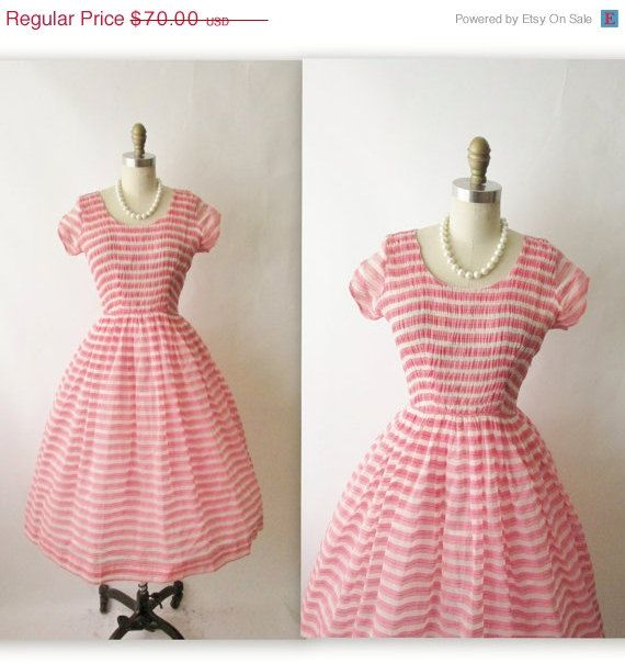 Vintage 1950's Sheer Striped Red Garden Party Pin Up Dress
