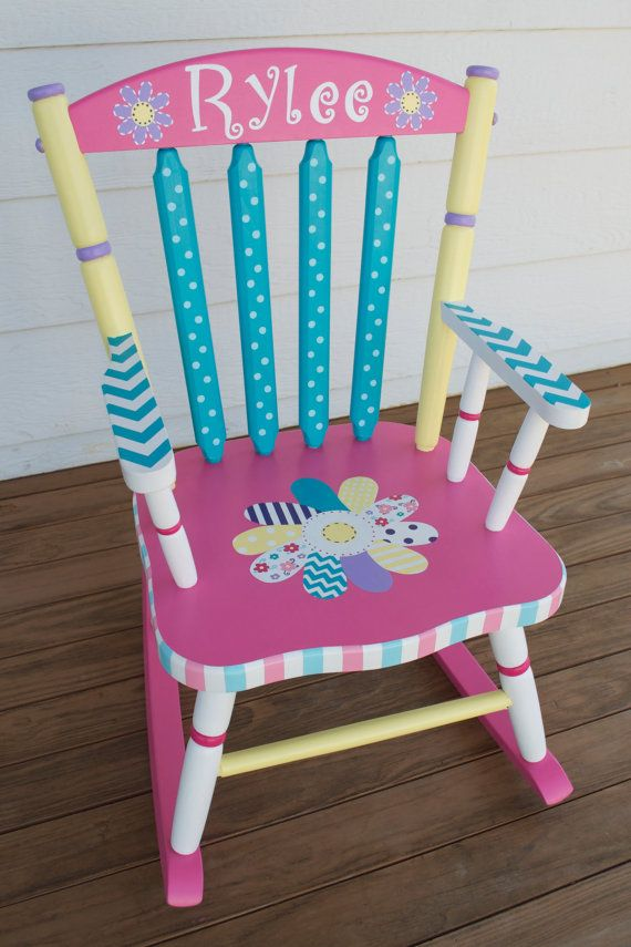 Hand Painted Whimsical Personalized Child Rocking Chair Painted