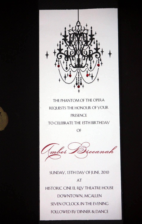 Phantom of the Opera Invitations by lilsocialbutterflies on Etsy ...