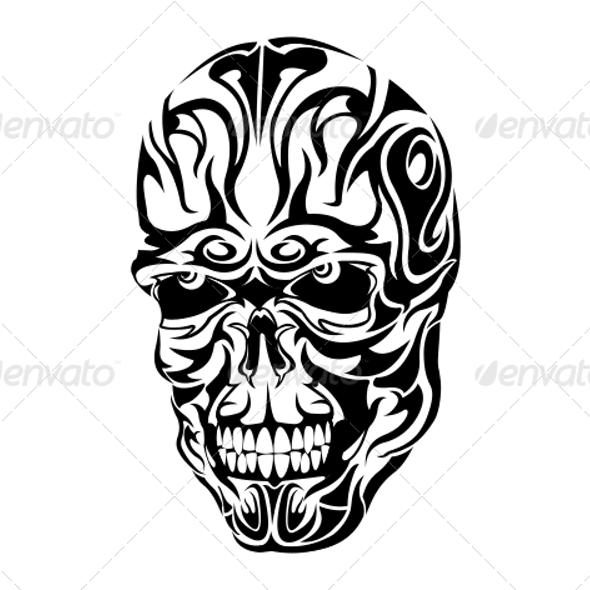 Paling Populer 15 Desain Tato Skull Tribal Tattoo