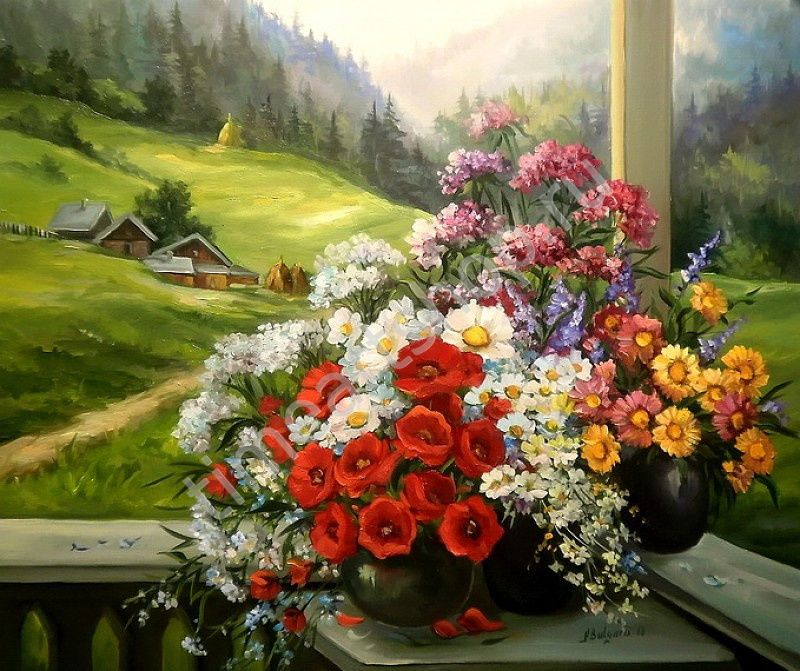 "Анка Булгару ""Цветы на террасе"", картины раскраски по ..."
