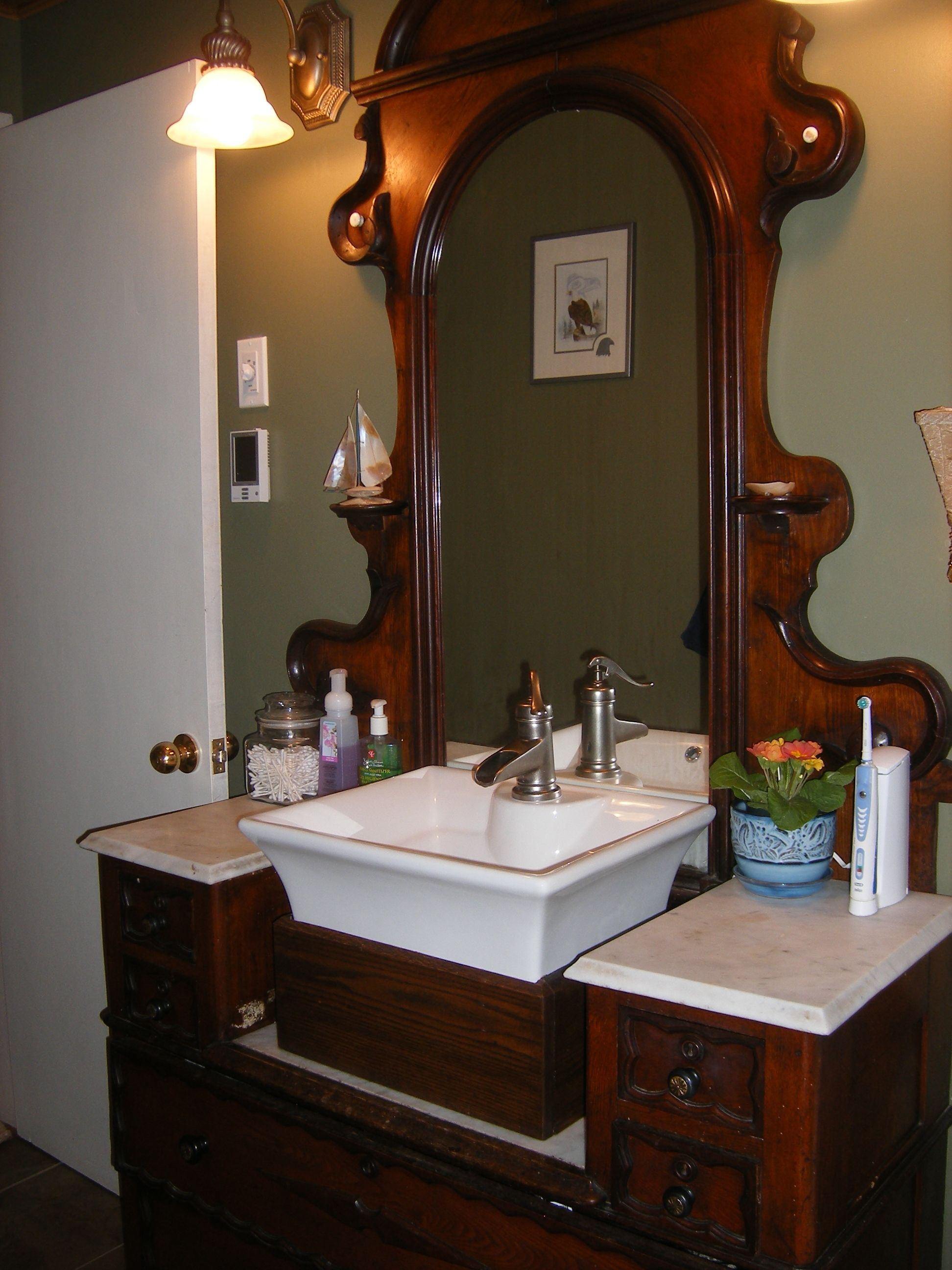 S Dresser Repurposed As Our 100 original Bathroom Vanity for
