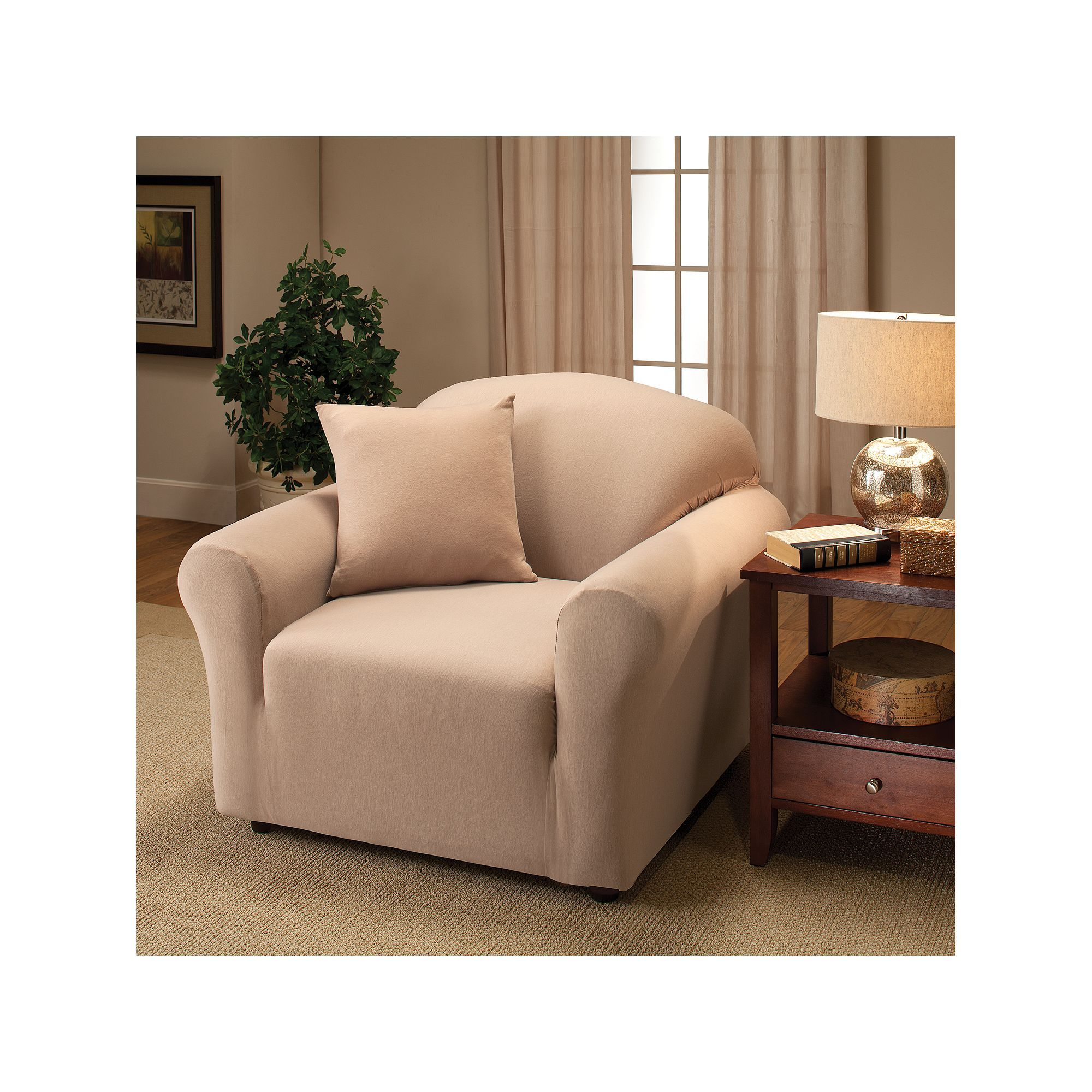 Madison Stretch Jersey Lime Loveseat Slipcover Solid
